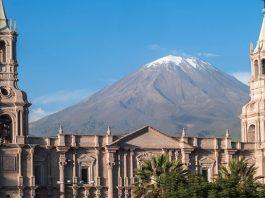 Volcano El Misti overlooks the city Arequipa in southern Peru