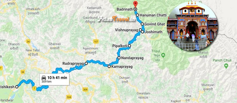 Badrinath Route Map
