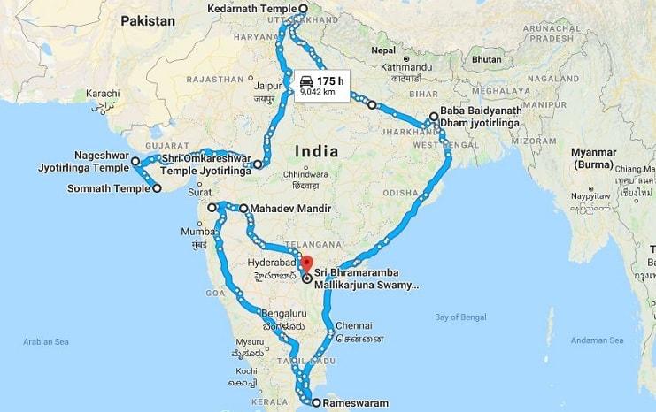12 Jyotirlinga Yatra Route Map