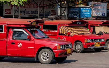Red Taxi Trucks in Chiang Mai